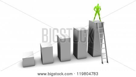 Man Climbing Up Ladder To the Top as a Business Concept