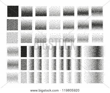 Set of 51 square stipple pattern for design. Tile spots