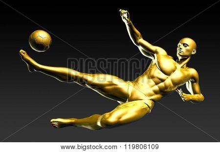Football Player Scoring a Winning Goal in Mid Air