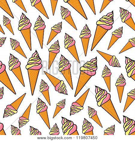 Fruity and vanilla ice cream seamlss pattern