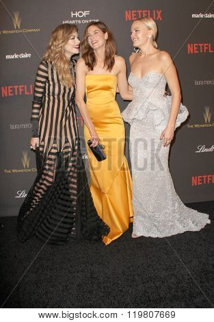 Jamie King, Michelle Monaghan & Malin Akerman arrive at the Weinstein Company and Netflix 2016 Golden Globes After Party on Sunday, January 10, 2016 at the Beverly Hilton Hotel in Beverly Hills, CA.