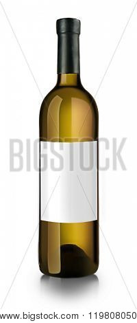Bottle of white wine with empty label, isolated on white