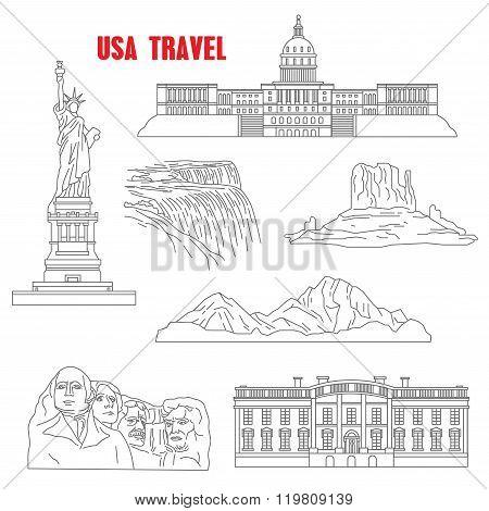 Thin line style USA landmarks