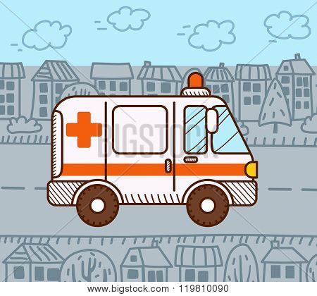 Ambulance car in the city. Vector illustration