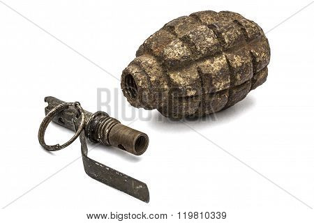 Old Grenade And Fuse, Isolated On White Background