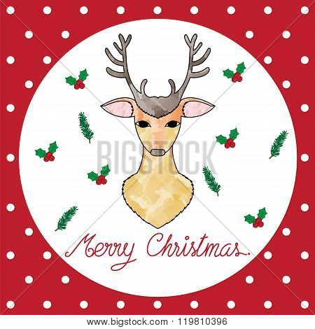 Illustration Of Christmas Card With Deer