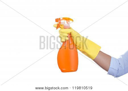 Hand In Yellow Protective Glove Spraying Cleaning Liquid On White Background