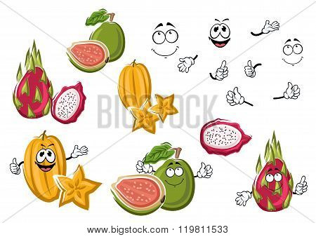 Cartoon fresh tropical fruits characters