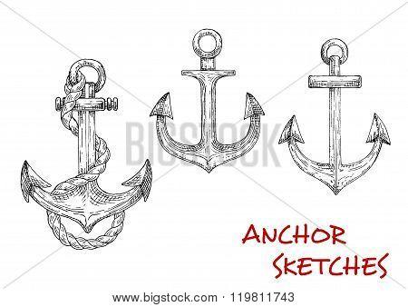 Heraldic ship anchors, sketch icons