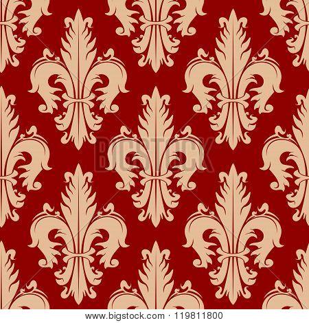 Victorian seamless fleur-de-lis red pattern
