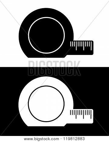 Vector tape measure icon in black and reverse