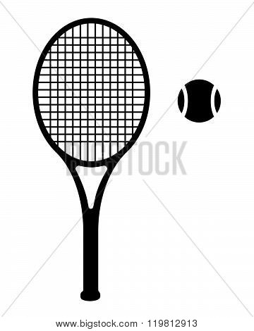 Vector silhouette of a tennis racket and tennis ball