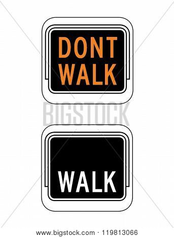 Vector Walk and Don't Walk Signage Set