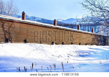 wooden house on a farm in the mountains on Kamchatka