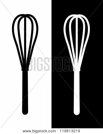 Vector Whisk Graphic in Black and Reverse
