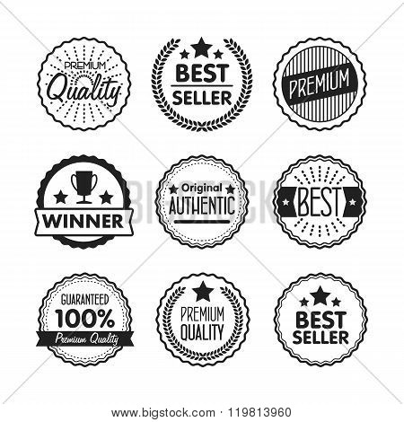 Flat vector stamp set. Stamp of best choice. Collection of different badges. Isolated stamp. Best seller badges. Winner award stamp. Premium quality stamp. Stamp with ribbon.  Badges icon. Winner cup stamp. Premium logo. Premium quality icon. Stamp.