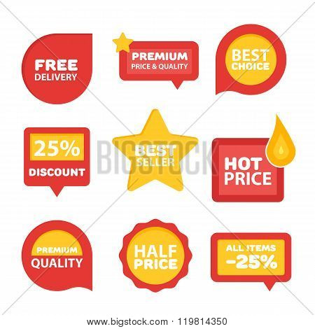 Sale sticker. Discount sticker. Vector sale sticker. Isolated sticker. Sale sticker on white background. Sale sticker, exclusive product sticker, special offer in modern flat style. Sale sticker set. Sale badge. Special sale badge for goods. Discount tag.