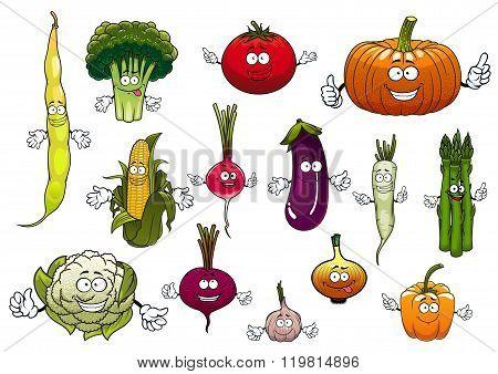 Healthy cartoon happy farm vegetables
