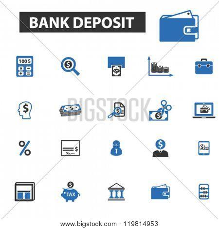 bank deposit icons, bank deposit logo, bank deposit vector, bank deposit flat illustration concept, bank deposit infographics, bank deposit symbols,