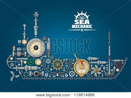 Sea ship silhouette with nautical equipment