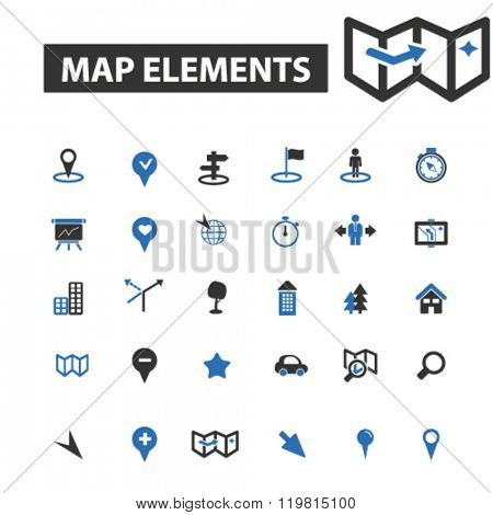 map elements icons, map elements logo, map elements vector, map elements flat illustration concept, map elements infographics, map elements symbols,