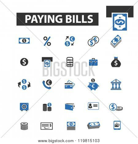 paying bills icons, paying bills logo, paying bills vector, paying bills flat illustration concept, paying bills infographics, paying bills symbols,
