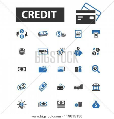 credit icons, credit logo, credit vector, credit flat illustration concept, credit infographics, credit symbols,