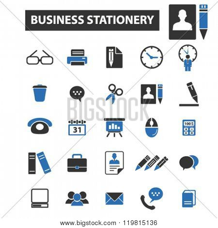 business stationery icons, business stationery logo, business stationery vector, business stationery flat illustration concept, business stationery infographics, business stationery symbols,
