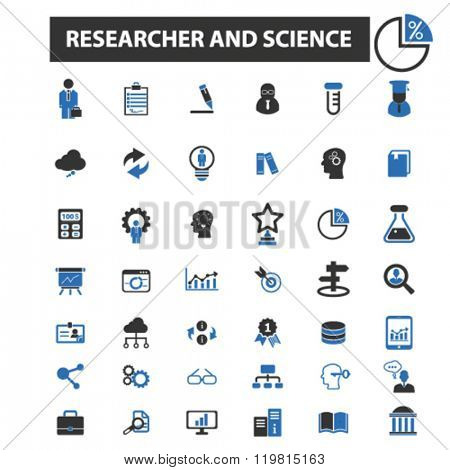 researcher and science icons, researcher and science logo, researcher and science vector, researcher and science flat illustration concept, researcher and science symbols,