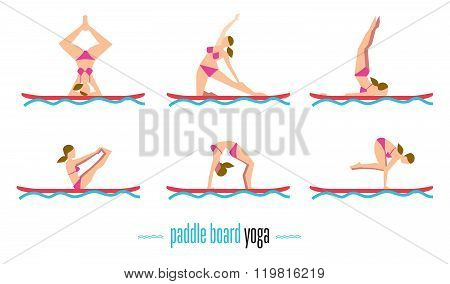 Paddle board yoga set, sup yoga. Six different poses on the paddle board. Girl standing in different yoga poses. Vector illustration. Relaxing time.  Vector yoga poses. Yoga class or yoga studio. Water yoga concept. Woman is engaged in yoga. Set of paddle
