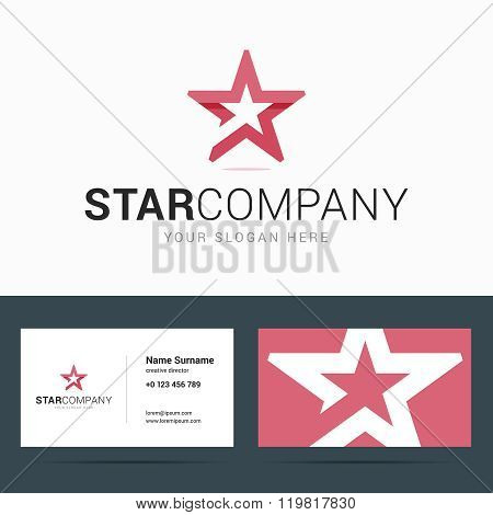 Logo and business card template with star shape.