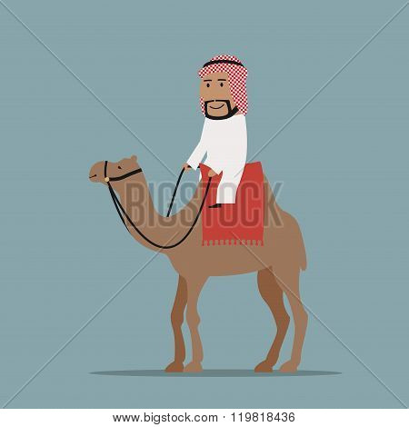 Happy smiling arab businessman in white thobe and keffiyeh riding on camel, decorated with red carpet. Travel, tourism and dessert transportation themes