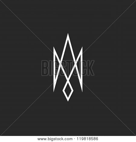 Monogram Trident Logo Mockup, Creative Abstract Modern Outline Ukraine Emblem, Srossing Thin Line Ge