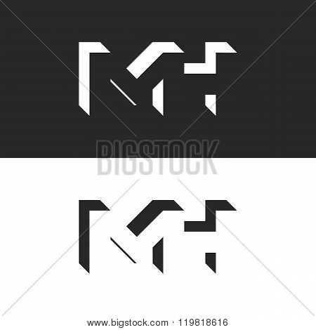 Initials Mh Letters Logo Mockup, Group M And H Isometric Geometric Shape Negative Space, Business Ca