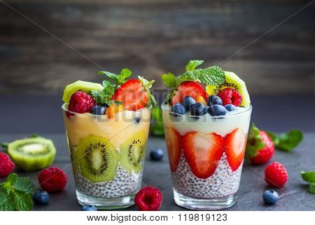 Layered berry and chia seeds smoothies