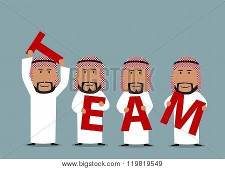Arab businessmen creating a word Team