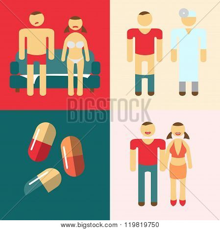 Impotence action steps for the treatment. Vector illustration. I