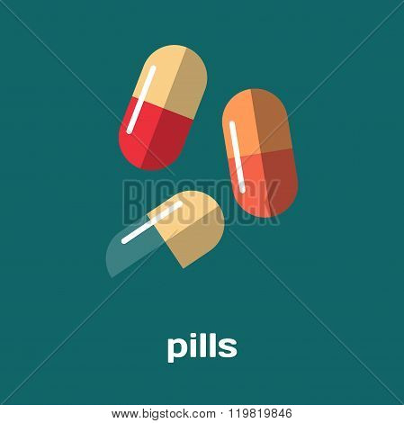 Pharmacy pills and capsules. Healthcare vector illustration flat
