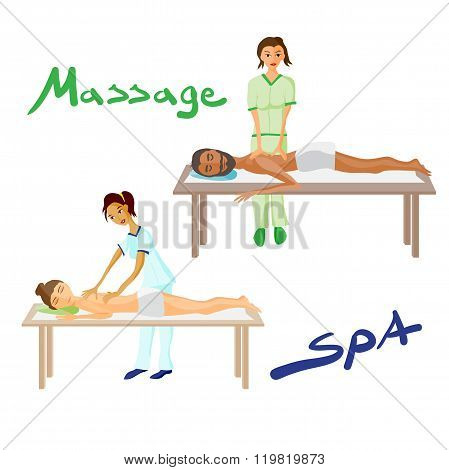 Set of vector illustration of woman and man pampering herself by