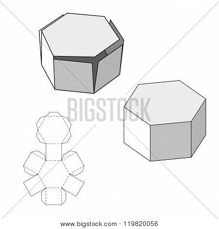 Box with Die Cut Template. Packing box For Food, Gift Or Other Products. On White Background Isolate