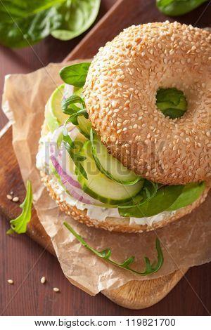 avocado sandwich on bagel with cream cheese onion cucumber arugula