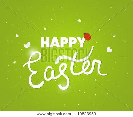 Happy Easter. Happy Easter logo template. Easter Sunday. Easter Day. Hand Lettering. Happy Easter isolated.