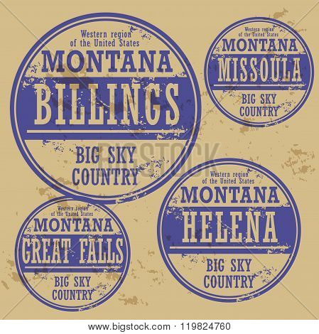 Grunge Rubber Stamp Set With Names Of Montana Cities