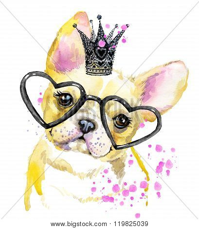 Cute Dog. Dog T-shirt graphics. watercolor Dog illustration background. watercolor funny Dog for fas