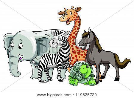 animals safari group pose