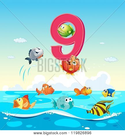 Number nine with 9 fish in the ocean illustration