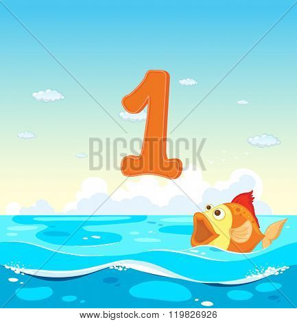 Number one with 1 fish in the ocean illustration