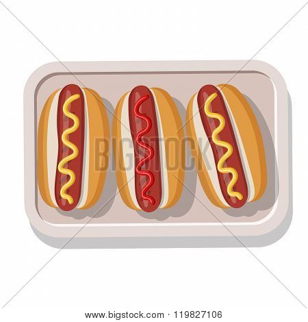Plate of grilled hotdogs with mustard and ketchup.