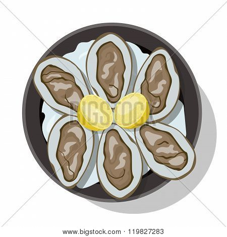 Raw oyster in shell with slice of lemon.