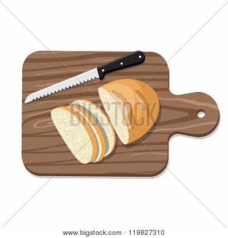 Sliced Bread on Slicing board with knife.
